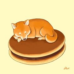Shiba inu food on behance Cute Animal Drawings, Kawaii Drawings, Cartoon Drawings, Cute Drawings, Shiba Inu, Anime Puppy, Hachiko, Maneki Neko, Puppy Care