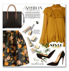 """Dark florals"" by jan31 ❤ liked on Polyvore featuring MSGM, Chloé, Christian Louboutin, Burberry, Marni, Pier 1 Imports, Pumps, ruffles, Floralskirts and darkflorals"
