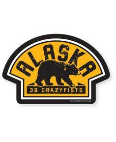 36 CRAZYFISTS  VINTAGE ALASKA  HOCKEY STICKER bb34fbc59