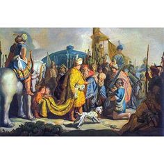 """Buyenlarge 'David with Goliath Before Saul' by Rembrandt Van Rijn Painting Print Size: 36"""" H x 24"""" W"""