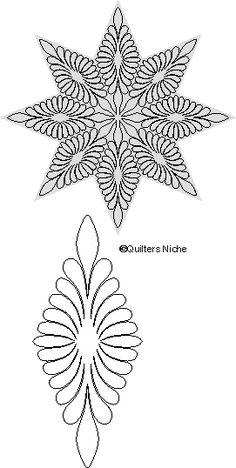 Inspirational FMQ motif for a Feather Star design MO-029 Feather Star quilting design source:  Quilters Niche
