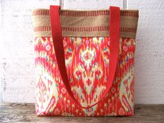 Pretty red and burlap tote bag  Book bag  purse in Amy by inges