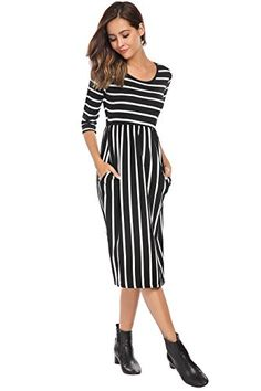 Women's Bohemian Stripe Printed High Waist Midi Dress With Pockets Black,XL ** Read more at the image link. (This is an affiliate link) #macros