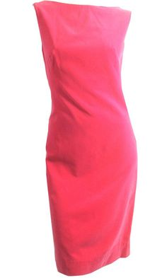 Hot Pink Velveteen Sheath Style Cocktail Dress circa 1960s - Dorothea's Closet Vintage