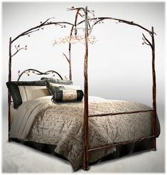 Delazious Wrought Iron Canopy Bed With Detailed Iron Branches - Decoist