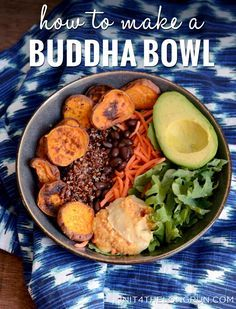 How to Make a Buddha Bowl: Choose a nicer or special bowl. Start with a base layer of greens. Add a variety of veggies & beans. Top with grains, nuts & seeds. Dress with a nice sauce/dressing. Eat mindfully enjoying all the flavors and textures. Enjoy Zen from happy belly! | InIt4TheLongRun