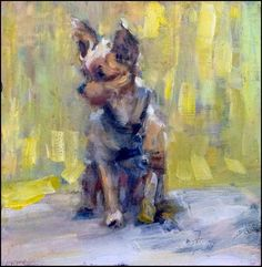 """I'm just a tiny Yorkie by Margie Lakeberg Oil ~ 6"""" x 6"""""""