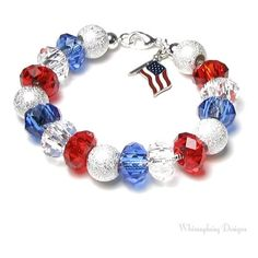 4th of July Bracelet, Red White and Blue Silver Finish Beaded American... ($36) ❤ liked on Polyvore