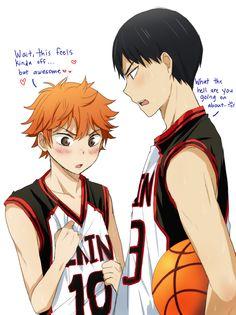sports boys crossover art is the best - Haikyuu!! / Kuroko's Basketball (CROSSOVERS UNLEASH mY inneR FANGIRL omg)