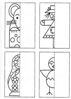 images attach c 6 89 720 Symmetry Activities, Fun Activities For Kids, Preschool Activities, Art Worksheets, Worksheets For Kids, Creative Teaching, Teaching Art, Art Lessons For Kids, Art For Kids