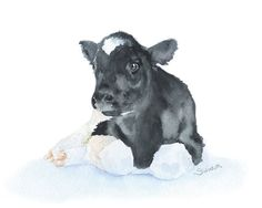 Cow Calf Original Watercolor Painting - 9 x 12 - Nursery Art on Etsy, $65.00