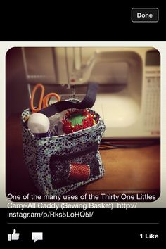 One of the many uses of the Littles Carry-All Caddy from Thirty One (Sewing Basket) makes a great gift.