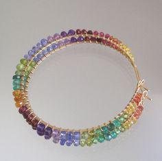 Rainbow Gemstone 14k Gold Filled Hoops Large Multi Gem Wire