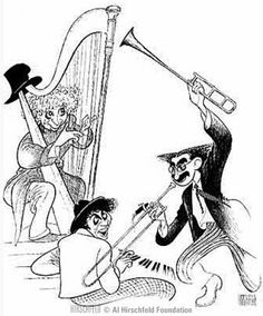 Etching of the Marx Brothers by famous American caricaturist Al Hirschfeld.