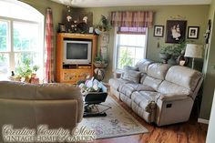 Creative Country Mom's Vintage Home and Garden: Rustic Fall Family Room in Neutrals with Burlap Accents