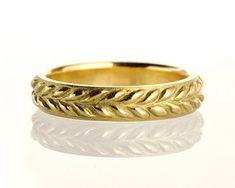 Leaves Ring - 18K Gold Ring, unisex ring, wedding ring, wedding band, leaf ring, filigree, antique, art nouveau, vintage
