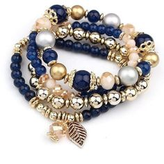 Polished beaded, easy-to- maintain and Eye-catching elegant, it is colorfully decorated,  this Fashion Multilayer Crystal Beads Leave Tassel Bracelets Gift adds