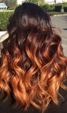 Image result for orange balayage on dark hair