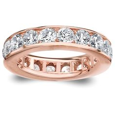Amore 14k or 18k Rose Gold Channel-set Diamond Wedding Band (G-H, SI1-SI2) (14K Rose Gold - Size 9.5), Women's