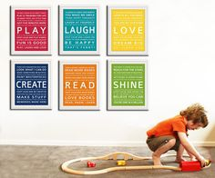Children Wall Art. Typography prints baby nursery art prints. Inspiration quote prints for children art. http://www.etsy.com/listing/90102428/children-wall-art-typography-prints-baby
