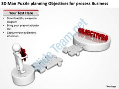 3d man puzzle planning objectives for process business ppt graphics icons Slide01