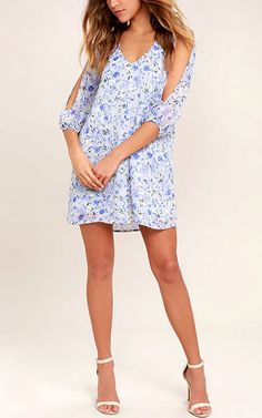 Shifting Dears Light Blue Floral Print Dress via @bestchicfashion