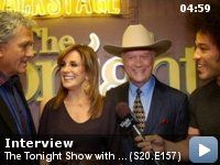 """The Tonight Show with Jay Leno: Season 20: Episode 157 -- Bryan talks with Larry Hagman, Linda Gray and Patrick Duffy from """"Dallas,"""" Meghan McCain and Meiko - backstage."""