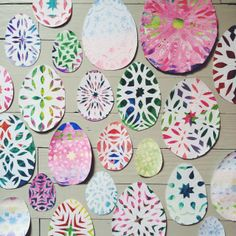 Use winter paper snowflakes to make spring easter egg decorations. By Kirsten Rickert