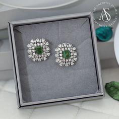 Swaroski Earrings Silver Jewellery Studded With Cubic Zirconia. Diamond Earrings Indian, Gold Jhumka Earrings, Diamond Earing, Jewelry Design Earrings, Mom Jewelry, Gold Earrings Designs, Emerald Jewelry, Diamond Jewellery, Silver Jewellery