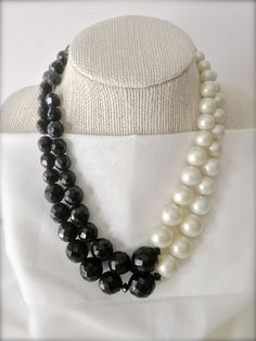 Vintage Black and White Beaded Necklace  Vintage by MissionJewels, $18.00