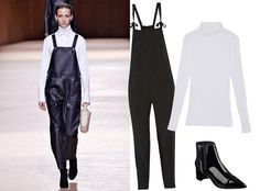 9Ways to Style a Turtleneck for Fall - With Overalls  - from InStyle.com :: Designer Nadège Vanhee-Cybulski of Hermes proved it's possible to wear overalls in the winter (albeit with a black leather pair), but the idea is one and the same. Deliver contrast with an optic white turtleneck and top it off with sleek high-shine patent boots.
