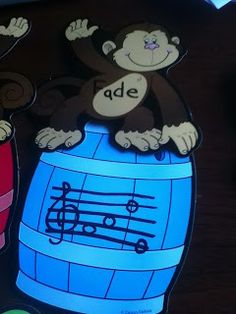 centers for rhythm and note reading, not sure about the monkeys, but something to match my classroom would be cool