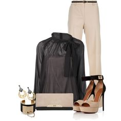 Nude and Black, created by lisamoran on Polyvore