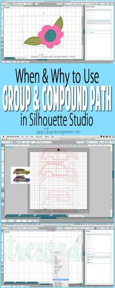 When, Where & How to use GROUP & COMPOUND PATH in Silhouette Studio for creating crafts with your Silhouette CAMEO.: Over 230 hours of Embird Software training with Phil in dowloadable video format. Plotter Silhouette Cameo, Silhouette Cameo Tutorials, Silhouette Cutter, Silhouette Cameo Machine, Silhouette Vinyl, Silhouette Portrait, Silhouette Files, Silhouette Projects, Silhouette Design