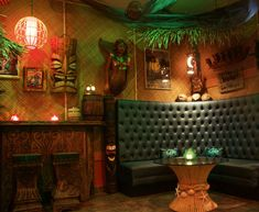 High Roller Tiki Lounge is a tiki bar within Sort This Out Cellars' tasting room in downtown Solvang, California. Tiki Bar Decor, Lounge Decor, Bar Lounge, Vintage Tiki, Vintage Hawaiian, Tikki Bar, Tiki House, Tiki Restaurant, Handmade Furniture