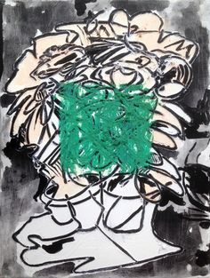 "Tadd Mullinix Flora's Flowers Green Square 2013-2015 Ann Arbor, Michigan 10"" x 9"" x .75"" acrylic and oil on canvas  http://taddmullinixart.com/paintings/2015/floras-flowers-green-square"