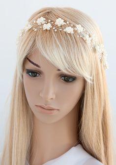 Ivory wedding crown. Silver crown. Bridesmaid hair by ArsiArt