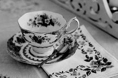 black and white tea cup