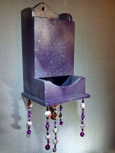 purple painted sparkling wood matchstick holder by MagpieDoodads