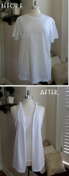 Re-styled tshirt diy (no sew) Sewing Hacks, Sewing Crafts, Sewing Projects, Diy Crafts, Diy Projects, Sewing Diy, Sewing Tutorials, Upcycled Crafts, T Shirt Vest