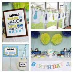 Teal & Green  little man baby shower or birthday party. love the stash idea!