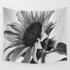 Sunflower Black & White Wall Tapestry