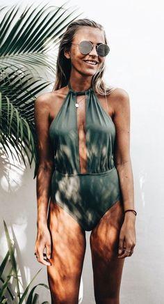 Sexy+Khaki+One+Piece+Swimsuit