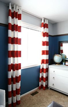 Paint colour palette ideas for a boys bedroom based on gray paint with blue and red accents.  Love the book rail accent and striped curtains. #KidsDecoratingIdeas #KidsBedrooms