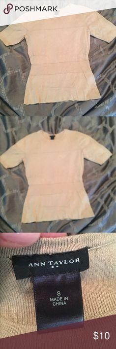 Ann Taylor tan peplum sweater, never worn. Ann Taylor tan short sleeved sweater, peplum. Great condition, never worn. Very flattering! Size small  83% Rayon 17% Nylon Ann Taylor Sweaters