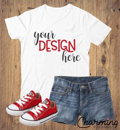 White Youth Shirt, Red Converse, Jean Shorts Product Mock Up
