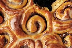 Cinnamon-Date Sticky Buns. These fluffy buttermilk-laced buns are filled with a cinnamon-scented date purée to capture all that gooey sticky bun glory without being overly sweet. Cheesecakes, Vanilla Paste, Canned Heat, Sticky Buns, Sticky Rolls, Thing 1, Dry Yeast, Clean Recipes, Gourmet
