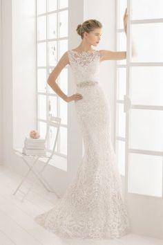 Испанское силуэтное кружевное свадебное платье. Модель Malone Rosa Clara коллекция AIRE Barcelona 2016