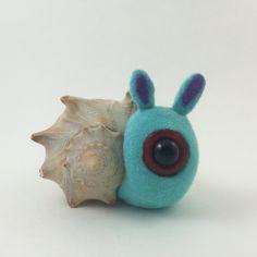 Cyclops Snail sculpture seashell blue flocked purple ears red sad eye big eye creature ooak handmade southern art by TheWabiSabi on Etsy