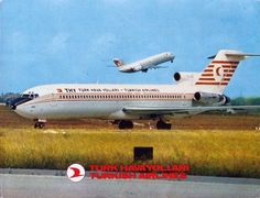 Turkish airlines Boeing B 727 postcard